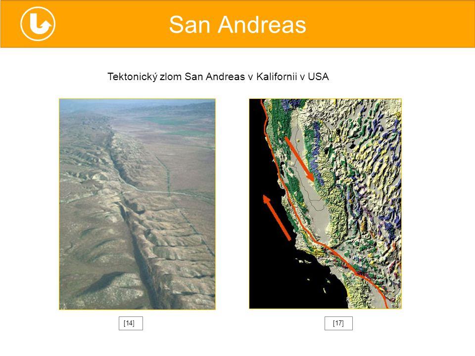 San Andreas Tektonický zlom San Andreas v Kalifornii v USA [14] [17]